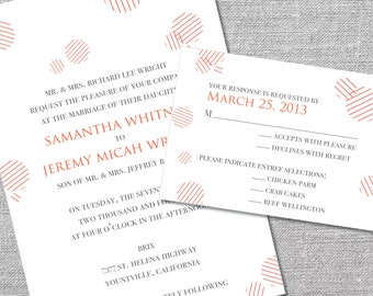 Printable Wedding Invitation and Reply Card   5x7/3.5x5   Modern Dots