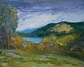 Original Oil Painting, WICKLOW, Irish Art, knife, Impasto, 8 X 10 ins, Landscape, Scenic, Lake, Mountains,