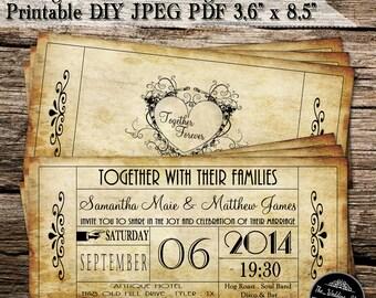 Ticket wedding invitation   Etsy