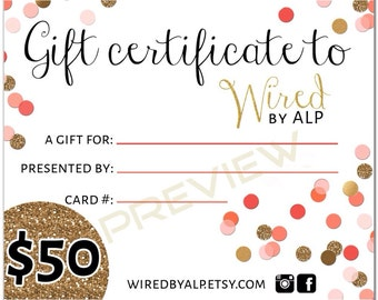 Gift Certificate 50 Dollars