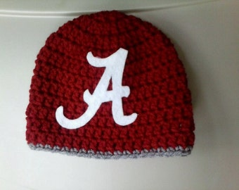 Crochet Alabama INFANT size hat, football hat, crochet newborn photo prop, crochet newborn Alabama inspired beanie hat, baby hat, Bama baby