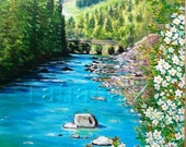 "Spring in Mountains - original oil painting 11,8""-15,75""  (30cm -40 cm) oil cardboard landscape"