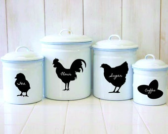 Chicken Chalkboard Canister Labels - Set  of 4 - Rooster Hen Chick Eggs