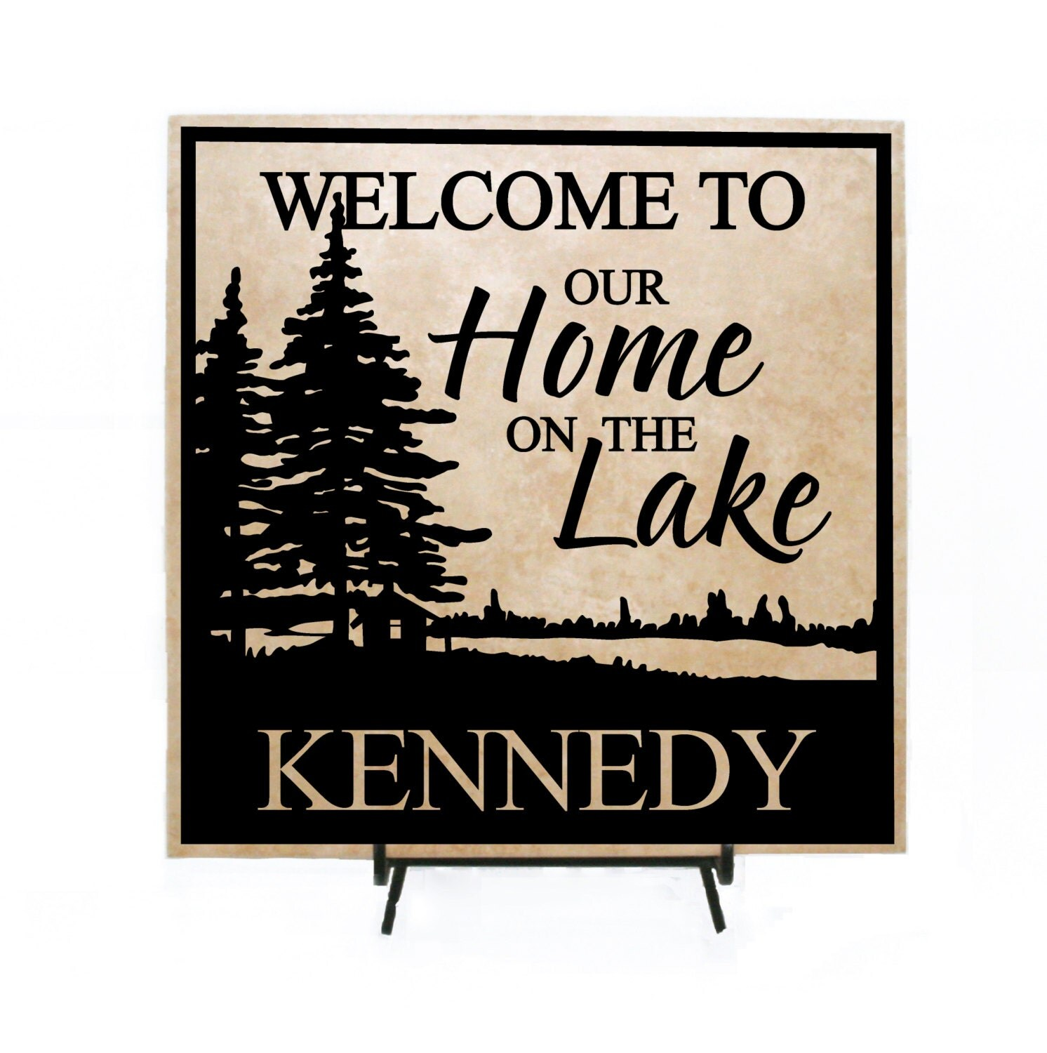 Welcome To Our Home: Welcome To Our Home On The Lake Personalized Sign Lake Home