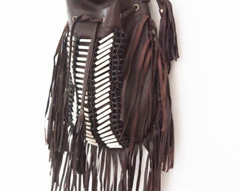 Leather bag, indie fringe and tassel cross-body super soft sheep leather saddlebag in chocolate BROWN