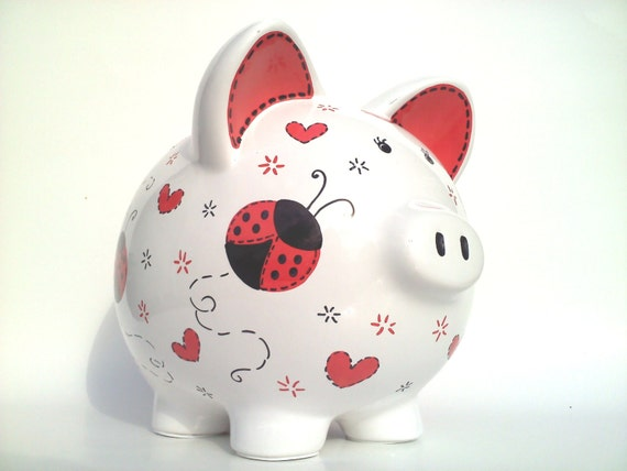 Ladybugs and hearts piggy bank hand painted by samseldesigns for How to paint a ceramic piggy bank