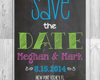 Save the Date Chalkboard Cards- (5x7): Personalized // Multiple Colors Available *Digital File*