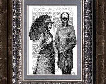 Screaming Woman and Skull Print - skull Illustration gothic horror wall art funny art print victorian skull skeleton print skeleton art