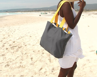 ON SALE Beach Bag,  Grey and Yellow Stripes