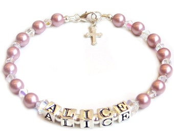 Christening or Communion Name Bracelet - Silver and Pearl