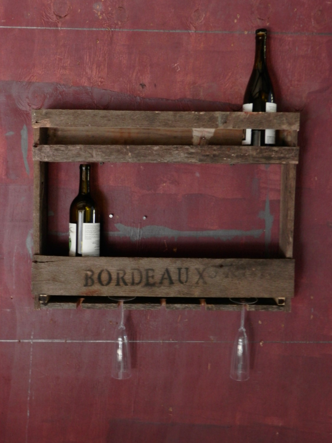 Rustic Wall Mounted Pallet Wood Wine Rack Bottle By