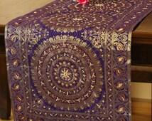 "Oriental Dabka 69"" X 15"" Hand Embroidered Table Runner (Golden Purple)"