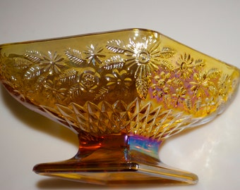 Carnival Glass Diamond Shape Pedestal Footed Candy Dish Bowl