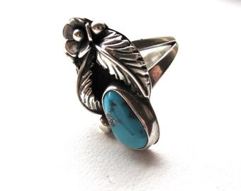 1970s Flower & Leaf Turquoise Ring