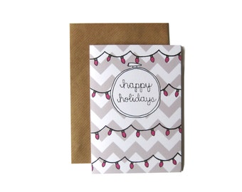 Happy Holidays Embroidery Hoop Card