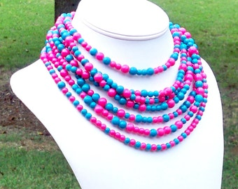 Cooke - Extra Long Layered Hot Pink and Turquoise Blue Beaded Necklace - Can Be WORN MULTIPLE WAYS
