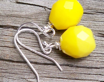 Mazey - GORGEOUS 10mm Round Multifaceted Lemon Yellow Czech Glass Gemstone Sterling Silver Dangle Fish Hook Earrings
