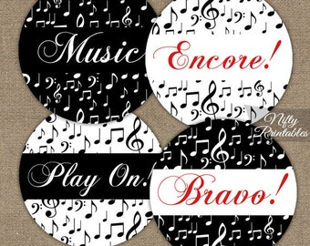 Music Cupcake Toppers - Black & White Music Party Printables - Music Party Decorations - Musical Party Decor - Music Favor Tags MSC