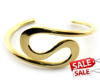 Gold Cuff Bracelet Gold Bracelet Cuff Gold Brass Cuff Bracelet Gold Brass Bracelet Cuff Gold Curve Bracelet Cuff Curve Cuff Bracelet 031