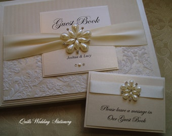 Personalised Wedding Guest Book. Bespoke. Different Colour Options Available for Satin Ribbon