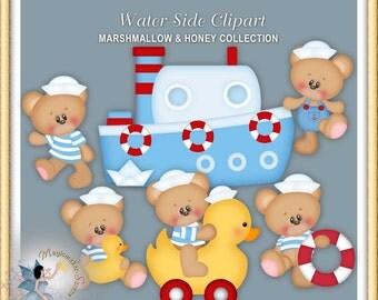Nautica Clipart, Sailor, Navy, Boat, Toys, Teddy Bear, Water Side, Marshmallow and Honey