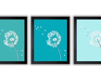 INSTANT DOWNLOAD Blue Green Turquoise Dandelion Print Flower Set of 3 White Silhouette Dandelion Art Wall Decor Bathroom Modern Minimalist
