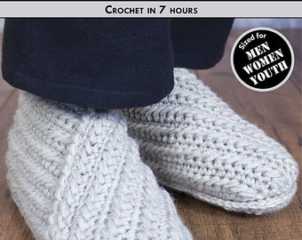 RUSTIC WRAP Youth & Adult Crochet Slippers Pattern [Digital File Download]