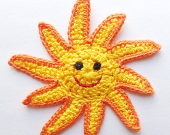 Applique Sun From Cotton Yarn-  Supplies For Clothing, Hair Clips, Handbags