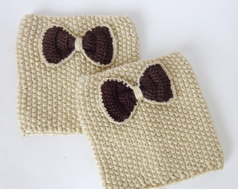 Bow Boot Socks - Knitted Boot Cuffs - Boot Topper - Leg Warmers in Beige Or Choose Your Color Valentine Day