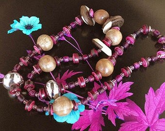 THE ICATU NECKLACE - crystal clear pink beads.dark pink beads.wood balls.necklace.pendant.