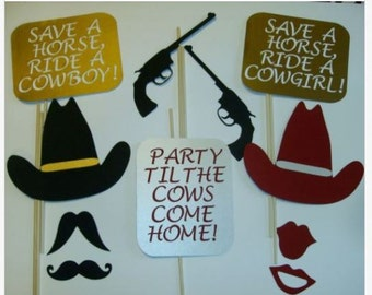 Photo Booth Props Western  Mustache Cowboy Hats Whiskey Ride (2079D)