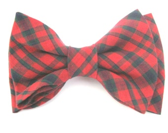 Dog Bow Tie  Plaid Red Dog Bowtie  Removable with Velcro Pet Bow Tie Collar Bow Tie Large Dog Bow Tie Bow Tie For Dog