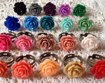 Rose ring, large flower ring, statement ring