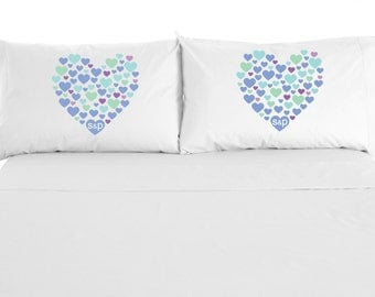 Hearts & Hearts Personalized Monogram Pillowcases, Love Pillow, Wedding Gift, Valentine's Day, Custom personalized set of 2