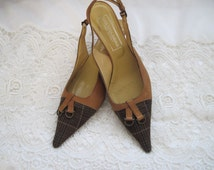 Slingback Stilletos Shoes, Camel Color Leather Classic Sexy Slingback, Vintage SAKS Heels, Great Condition, 2 inch Stiletto Heels
