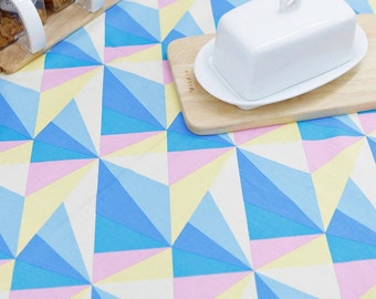 Oxford Cotton Fabric Geometric Triangle Blue By The Yard