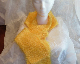 Yellow Scarf, Warm and Fuzzy, Hand Knitted Scarf, Soft and Sparkly, Medium Length, Bright Winter Accessory, Women Teens or Girls