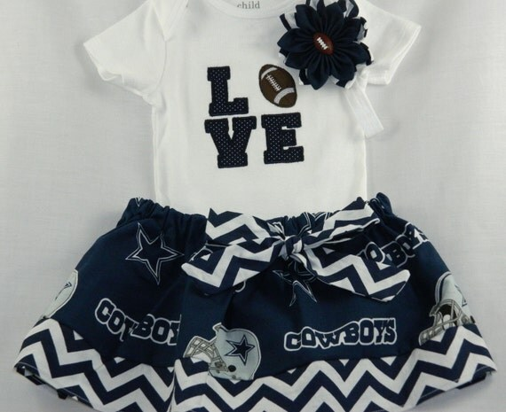 Dallas Cowboys NFL Embroidered onesie skirt and headband for