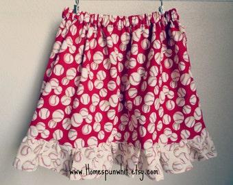 Baseball Girls Skirt, Girls Skirt, Baseball Skirt, STL Cardinals Skirt, Cardinals Skirt, Girls Elastic Waist Skirt, Size 6 to Size 16