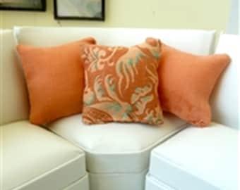 throw pillows peach and print dollhouse miniature 1/12 scale