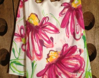 HAND PAINTED Dish Towels- ConeFlower