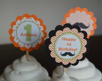Mustache Cupcake Toppers - Orange and Green - Mustache Bash - Little Man - Set of 12