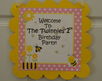 Bumble Bee Birthday Door Sign - Bee Party - Bumble Bee Party