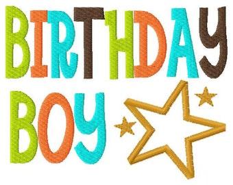Birthday Boy  Applique Design Applique Machine Embroidery Design 4x4 and 5x7