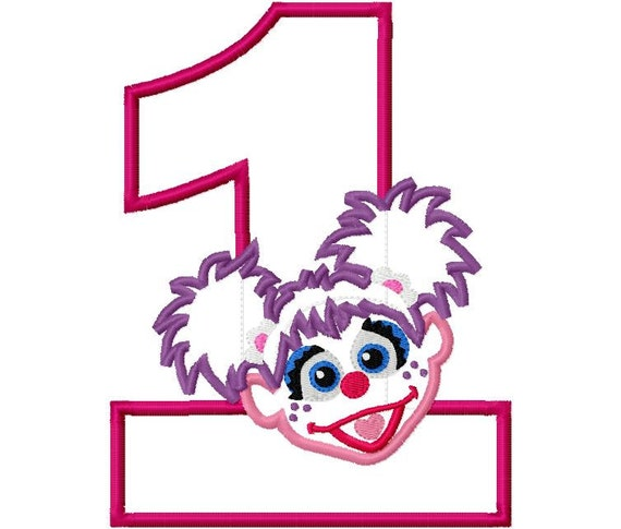 Purple Girl Abby First 1 one Birthday Applique Design Applique Machine Embroidery Design 4x4 and 5x7