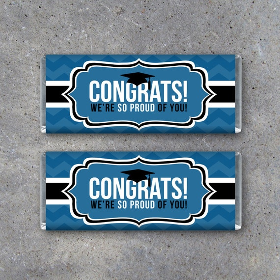 graduation congrats candy bar wrapper in blue instant download