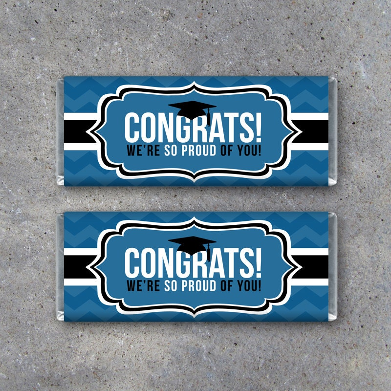 free printable graduation candy bar wrappers templates - graduation congrats candy bar wrapper in blue instant
