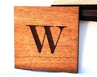Mahogany Custom Monogram Coaster Set, Laser Etched