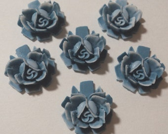 18mm muted blue resin rose flower cabochons (6)