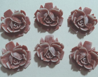 18mm brown white tipped resin rose flower cabochons 6 pc lot l